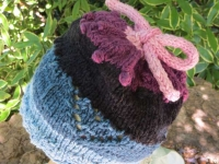 Baby knit Hat with Heart Motif and iCord tie