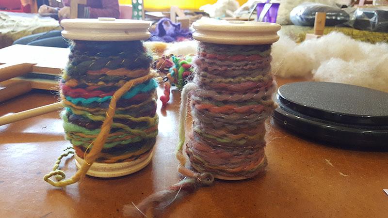 My first spools of hand spun yarn